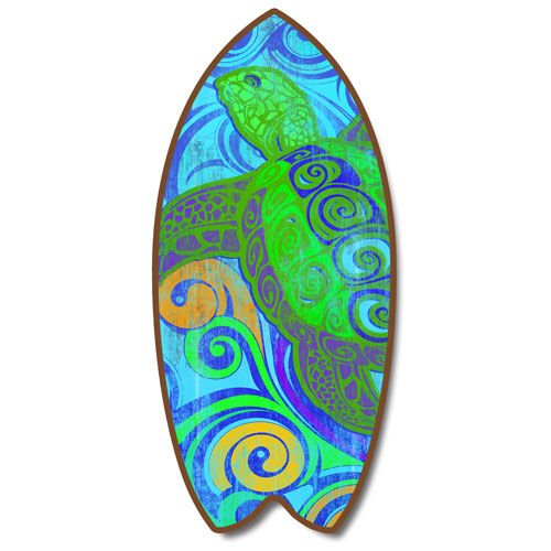 Weathered Tropical Sea Turtle Mini Surfboard Plaque Home Décor Accent