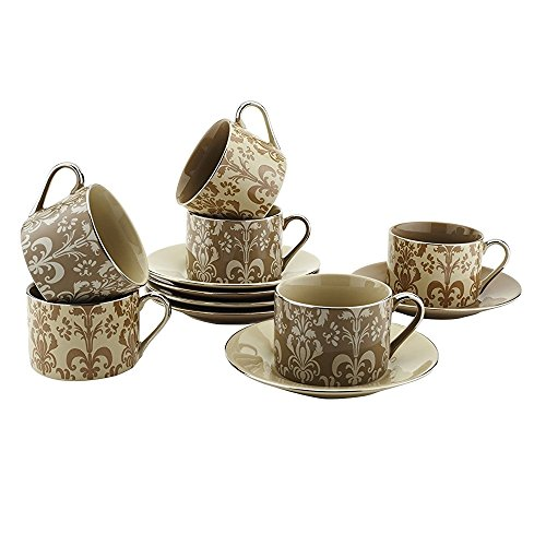 Teacups And Saucers Set Of 6 by Classic Coffee & Tea - Complete Coffee Cup & Tea Cup Set - Vintage Porcelain Set In Beautiful Pastel Colors with Gold Plated Rims & Handles - Unique Gift Idea - 7oz