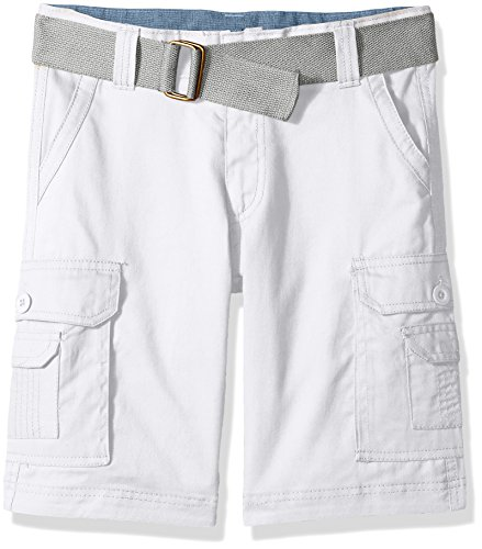 Beverly Hills Polo Club Big Boys' Belted Shorts, Bright White, 10