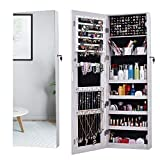 doors for closets AOOU Jewelry Organizer Jewelry Cabinet,Full Screen Display View Larger Mirror, Full Length Mirror,Large Capacity Dressing Mirror Makeup Jewelry Armoire Jewelry Mirror Full Length Mirror (White)