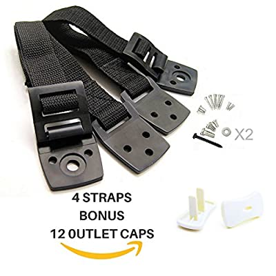 Anti Tip TV Straps - Furniture Anchor- Heavy Duty Mounting Hardware - 4 Pack Black Strap - Earthquake Resistant - Durable and Adjustable - Childproofing -12 White Outlet Caps with Keys Included