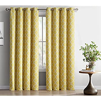 ME Lattice Print Thermal Insulated Blackout Curtains For Living Room    Bright Yellow   Part 45