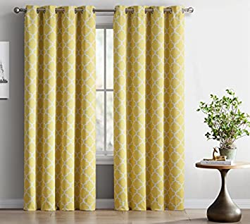 ME Lattice Print Thermal Insulated Blackout Curtains For Living Room