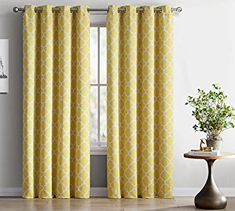ME Lattice Print Thermal Insulated Blackout Curtains For Living Room    Bright Yellow