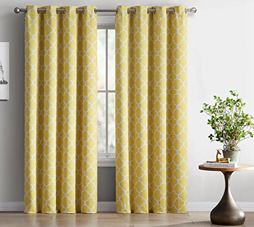 HLC.ME Lattice Print Thermal Insulated Blackout Curtains for Living Room - Bright Yellow