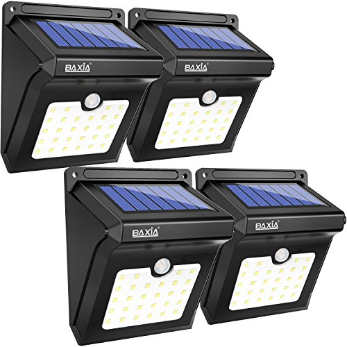 BAXIA TECHNOLOGY Outdoor Solar Lights,Waterproof Wireless 28 LED Solar Motion Sensor Security Lights for Outdoor Gate,Deck,Step,Wall,Yard,Fence,Patio,Garden,Driveway(4 Packs)