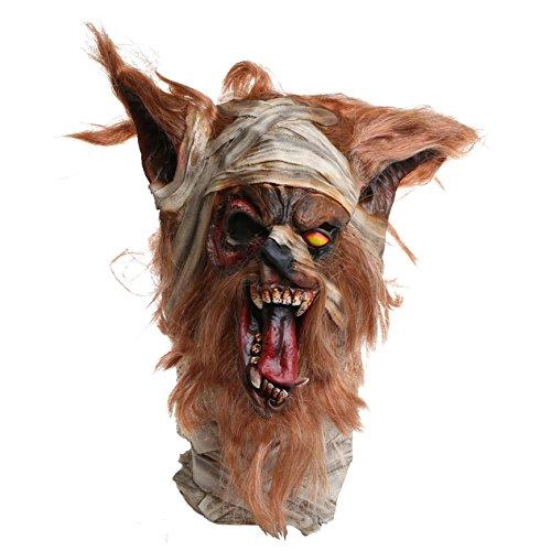 Brown Fux Werewolf Mask, Latex Animal One-Eye Wolf Head (Werewolf Latex Mask)