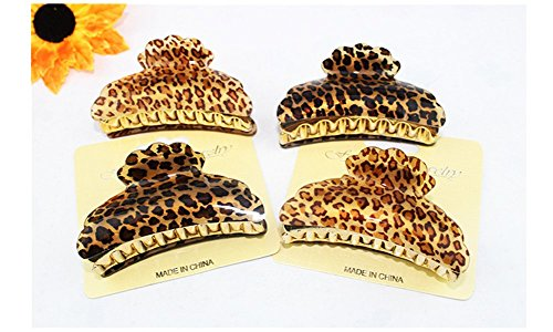Lovef Plastic Black Brown Leopard Pattern Hair Clip Claw Clamp for Women-4 Pcs