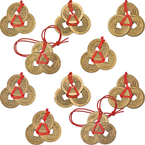 Boao 10 Sets Chinese Fortune Coins Feng Shui Coins I-Ching Coins Traditional Coins with Red String for Wealth and Success, 5 Styles -