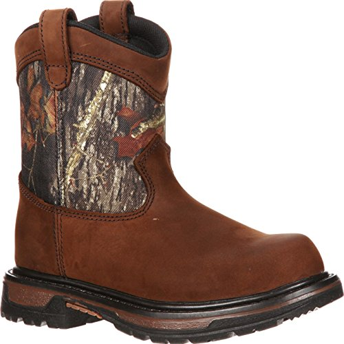 - Rocky Unisex FQ0003633 Mid Calf Boot, Brown Mossy Oak Breakup Camouflage, 5 M US Big Kid