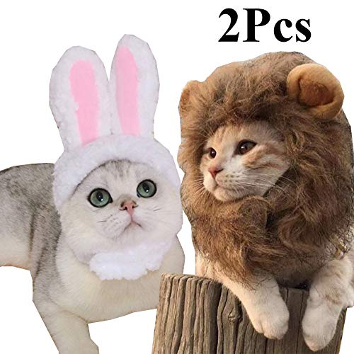 2 Pack Lion Mane Wig Costume for Cat Costume Bunny Rabbit Hat Headwear with Ears Cosplay Dress up Halloween Party Costume Accessories for Cats & Small Dogs]()