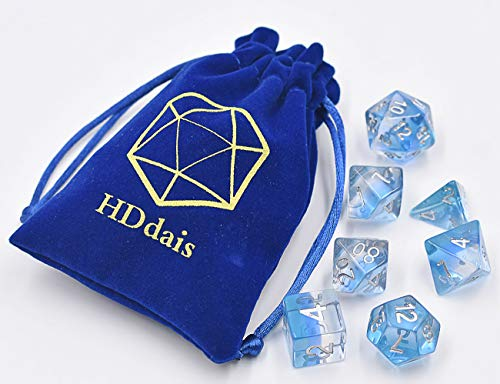 Polyhedral Dice Set D&D Gaming Dice  Blue Aurora Transparent Gradients Dice for Dungeons and Dragons MTG RPG Role Playing Table Game including Pouch