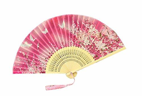 Marshel Japanese Folding Fan Sensu Folding Bamboo Hand Fan For Women AX-JP-SE-001 Pink (Japanese Sensu Fan)