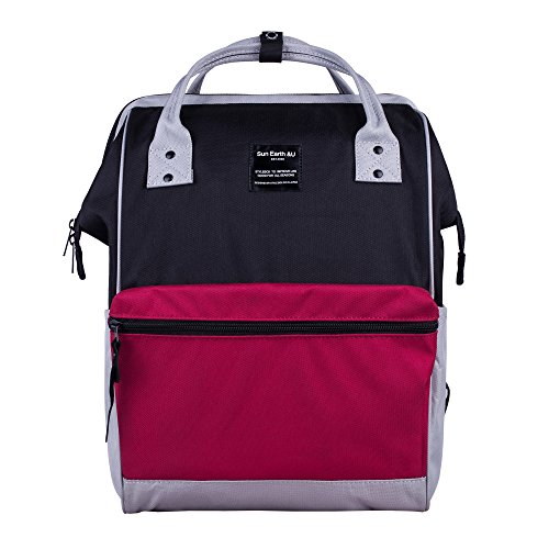 Canvas School Backpack, Waterproof College Laptop Bookbag, Wide Opening Large Capacity Big Student Bag, Multi-Functional Travel Backpack for Men and Women-Grey/Red