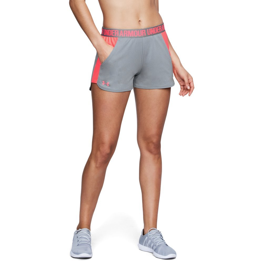 Under Armour Women's Play Up Shorts 2.0, True Gray Heather (031)/Brilliance, X-Small by Under Armour