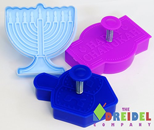 Hanukkah Stamp Cookie Cutter Set 3 Molds Blue / Purple (Hanukkah Cookie Cutters)