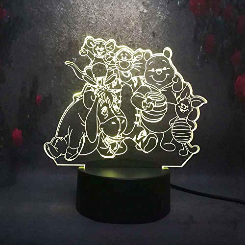 Amroe Cartoon Big Family Cute Winnie Pooh Eeyore Tigger Friends 3D LED Night Light 7 Color USB Remote Touch Table Lamp Home Decor Kids (Winnie Lamp The Touch Pooh)