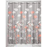 Hot Pink Shower Curtain Liner InterDesign Daizy Shower Curtain, Gray and Coral, 72 x 72-Inch