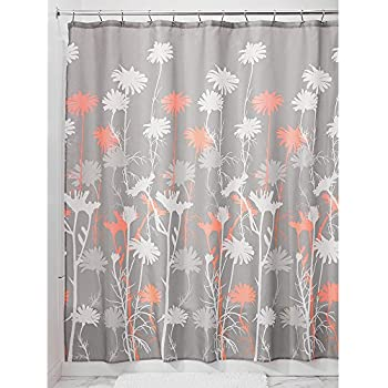 InterDesign Daizy Shower Curtain Gray And Coral 72 X Inch