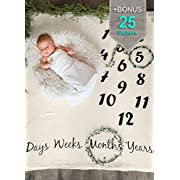 Baby Age Monthly Newborn Photography Props Blanket Beige + Bonus Infant Milestone Stickers | Cute Baby Shower Gift for Boy & Girl | Photo Accessories Prop Backdrop | Take Cute Pictures