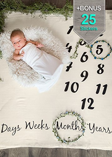 Baby Age Monthly Newborn Photography Props Blanket Beige + Bonus Infant Milestone Stickers | Cute Baby Shower Gift for Boy & Girl | Photo Accessories Prop Backdrop | Take Cute Pictures by ONE4ONE Safety