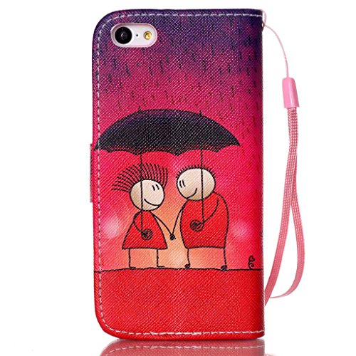 iPhone 5C Coque , Apple iPhone 5C Coque Lifetrut® [ pluie Romance ] [Wallet Fonction] [stand Feature] Magnetic snap Wallet Wallet Prime Flip Coque Etui pour Apple iPhone 5C