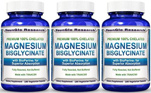 Amazon.com: Magnesium Glycinate Plus BioPerine - 180 Vegan Non-GMO Capsules - 100% Pure Chelated TRACCS High Absorption Bisglycinate (1 Pack): Health ...