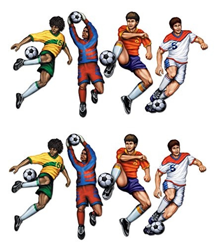 Beistle S55089AZ2, 8 Piece Soccer Cutouts, 20