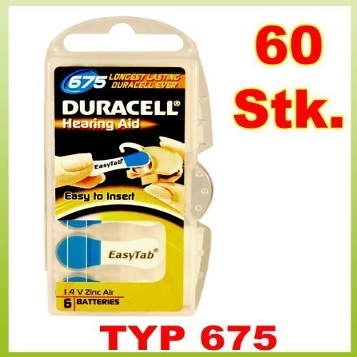 Duracell 60 x Size 675 / BLUE - EasyTab Hearing Aid Batteries (10 packs of six cells)