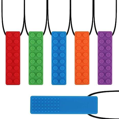 Collar de masticación sensorial yidenguk, juguete de dentición colorido de 5 piezas para dentición y perfecto para niños dentición de bebés