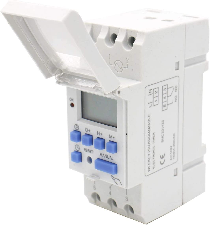Pasamer THC15A AC 12V//24V//110V//220V LCD Digital de energ/ía Temporizador programable Interruptor de Tiempo Rel/é 16A Amp 24V