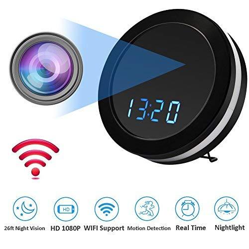 MINGYY Hidden Camera Alarm Clock Wifi Spy Camera 1080P HD Monitor Webcam with Night Vision Security Camera Wireless Surveillance Cameras for Home 2.4 Ghz Hidden Clock