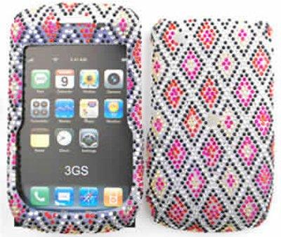 Blackberry Curve 8520, 8530, 9300 Full Diamond Crystal, Blue, Red Diamonds on White Rhinestone, Diamond Hard Case, Snap On (Blackberry 8520 Curve Cover)