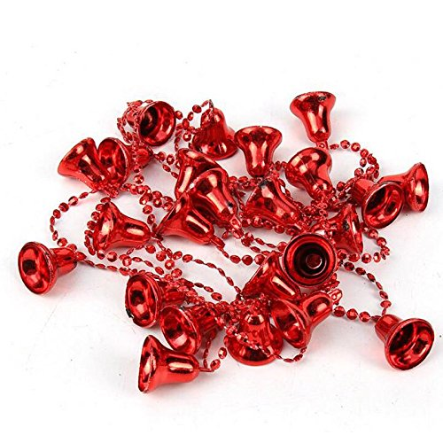 Decorative Bell Bead Chain Garland 1.5m RED Tree Decorations Gift Craft Festive Tinsel - Christmas / Xmas Concept4u