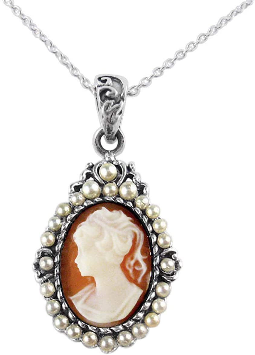Sterling Silver Katja Resin Cameo Synthetic Pearls Necklace, Salmon 51Z3RGH1YgL