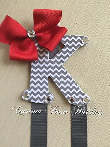 Hair Bow Holder - Grey Chevron Patterned 4