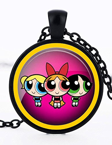 1 Powerpuff Girls Black Bezel Pendant Necklace #31 - Girl Bezel