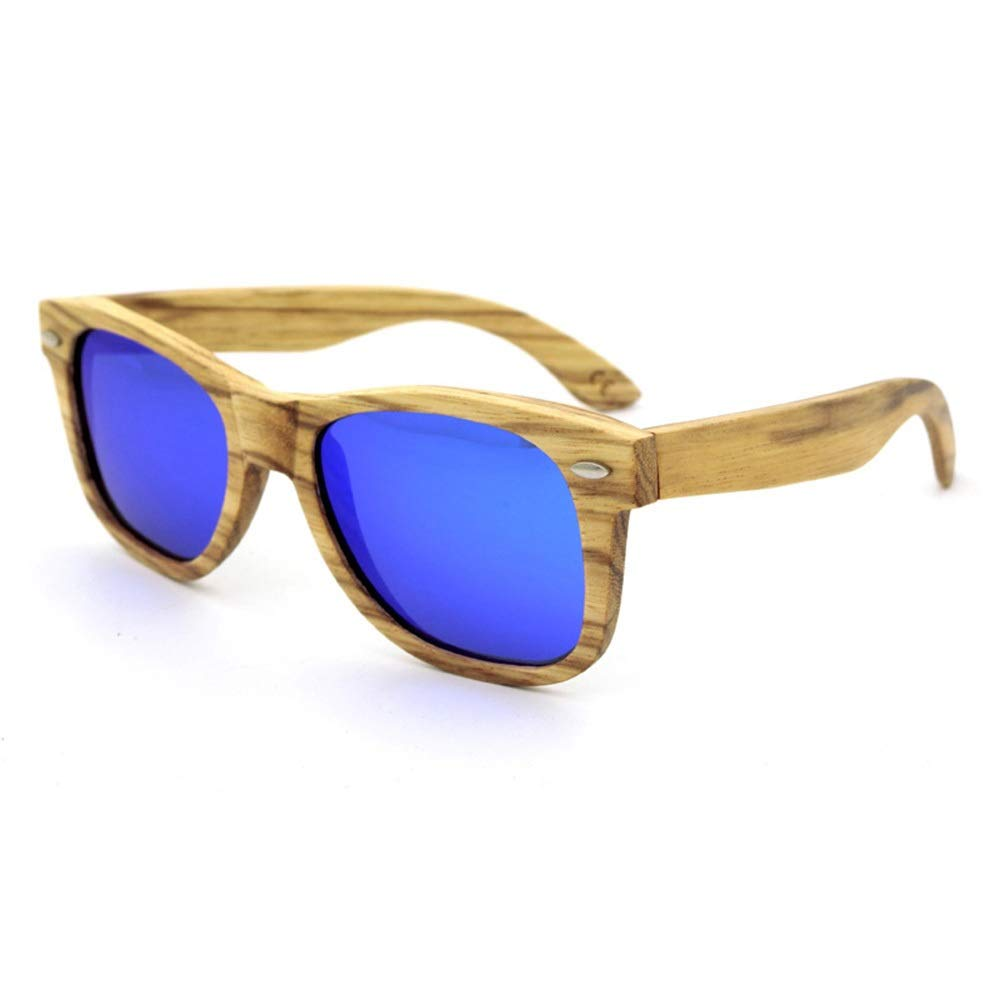 bluee Kirabon Women's Vintage Bamboo Driving Sunglasses for Men, Polarized, UV Predection (color   bluee)