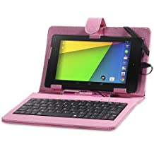 """Fosmon® (OPUS KEYBOARD) PU Leather Stand Case for 7"""" Tablets with Micro USB Keyboard (Capacitive Stylus INCLUDED) (Light Pink)"""