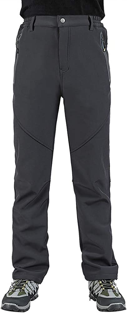 LABEYZON Mens Outdoor Hiking Pants Athletic Softshell Fleece Lined Cargo Snow Ski Pants