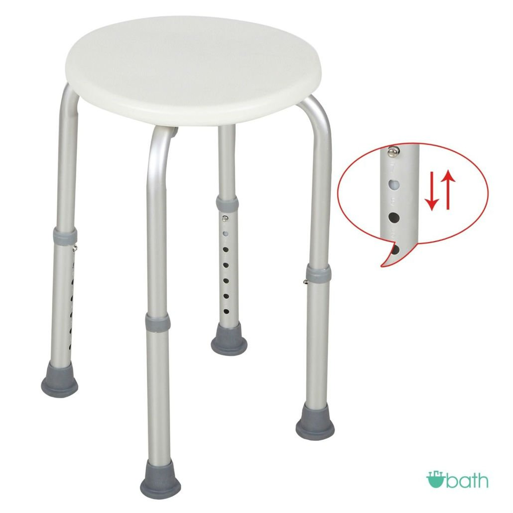 7 Adjustable Heights Medical Bath Shower Chair Bath Stool Tub Seat in White
