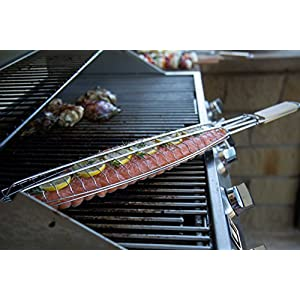Internet's Best Stainless Steel Fish Grill Basket | 28 Inch | Long Wooden Handle | BBQ Smoking Charcoal Grilling Roast Basket