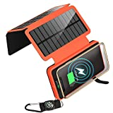 soyond Solar Charger Qi Wireless Charger Portable Solar Power Bank 20000mAh Waterproof Battery Packs with Dual Ports Solar Phone Charger for iPhone, Andriod Phone, iPad(Orange Wireless Charger)