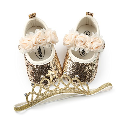 BENHERO Baby Infant Girls Soft Sole Floral Princess Mary Jane Shoes Prewalker Wedding Dress Shoes (0-6 Months Infant), C-Gold+Headband ()
