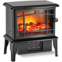 "Air Choice Portable Fireplace, 9.9"" Small Infrared Heater 500W Features Overheating Safet with 3D Flame Free Standing Black Antique Shape Decoration, S"