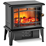 TRUSTECH Upgrade Electric Fireplace Heater, 9.9' Portable Stove Heater, 500W Infrared Space Heater, Overheating Safety & Fan Settings 3D Flame, Free standing Black Antique Shape Christmas Decoration