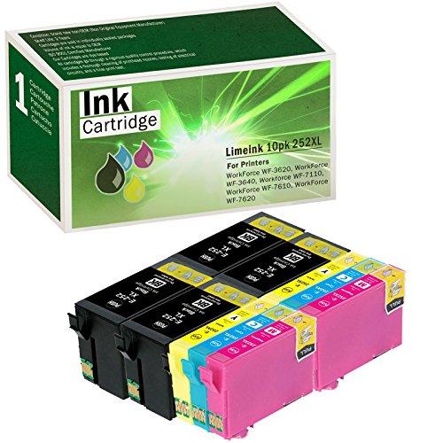 Limeink 10 Pack Remanufactured 252XL Ink Cartridges (4 Black, 2 Cyan, 2 Magenta, 2 Yellow) Set Use for Epson WorkForce WF-3620 WF-3640 Wf-7110 WF-7610 WF-7620 Series T254 T252 252 Printers (Wf Series)