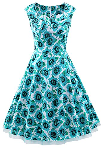 VOGTORY Womens 1950s Vintage Sleeveless V-Neck Garden Party Rockabilly Swing Dress, XX-Large, Green-Sunflower