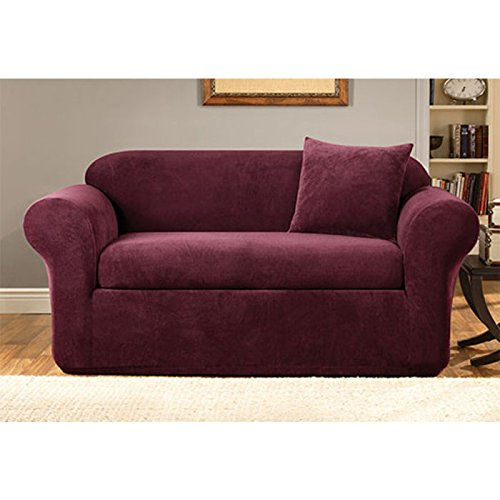 SureFit Stretch Metro 2-Piece - Sofa Slipcover - Burgundy (Slipcover Burgundy)