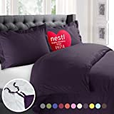 Purple Duvet Cover Nestl Bedding Duvet Cover, Protects and Covers your Comforter / Duvet Insert, Luxury 100% Super Soft Microfiber, King Size, Color Purple Eggplant, 3 Piece Duvet Cover Set Includes 2 Pillow Shams